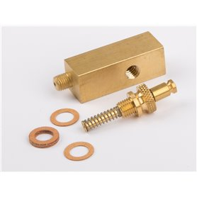 Wilesco 1937 Manometer base brass, 12x12 mm inside thread above M6 x 0,75 and lateral M5 för D15, D21