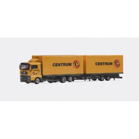 "Herpa 146456 MAN TGA XL Jumbo box trailer ""Centrum"" (NL)"