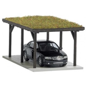 Busch 1482 Carport (grästak), bil ingår (Audi)