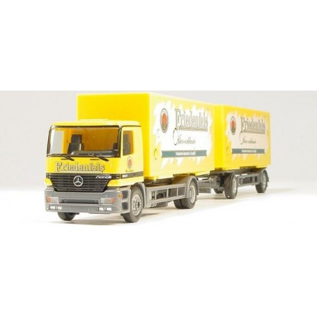 "Herpa 147552 Mercedes Benz Actros M interchangeable beverage box trailer ""Friedenfels"""