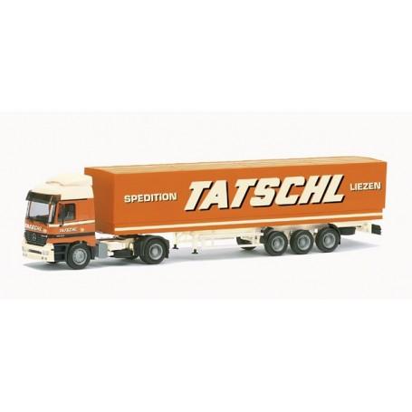 "Herpa 147811 Mercedes Benz Actros L canvas tarp semitrailer ""Tatschl"""