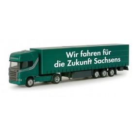"Herpa 065627 Scania R TL curtain canvas semitrailer ""Sachsentrans"""