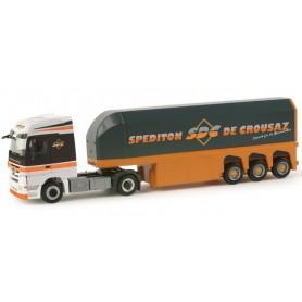 "Herpa 156363 Mercedes Benz Actros LH glass transporter semitrailer ""Interliner / De Crousaz"""