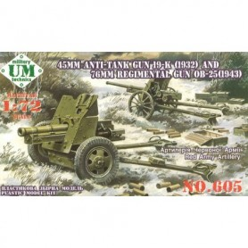 UM Unimodels 605 45MM Anti-Tank Gun 19-K (1932) And 76MM Regimental Gun OB-25 (1943)