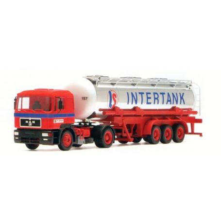 """Herpa 185325 MAN F200 med tanktrailer """"Intertank"""""""