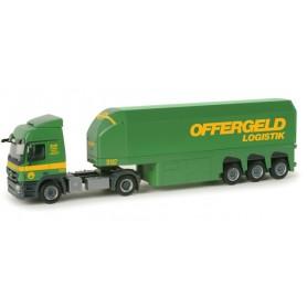 "Herpa 156554 Mercedes Benz Actros L glass transporter semitrailer ""Offergeld"""