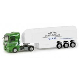 "Herpa 156264 MAN TGX XXL glass transporter semitrailer ?Dahmen / Saint Gobain"""