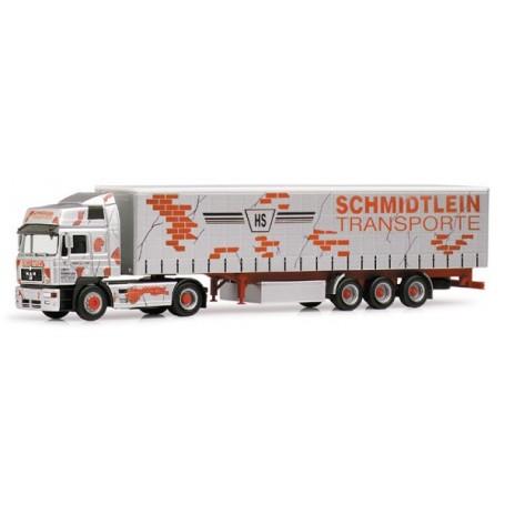 """Herpa 188883 MAN F2000 HD med gardintrailer """"Schmidtlein Transporte"""""""