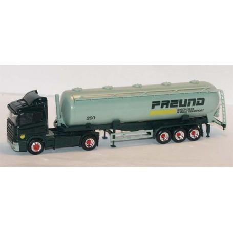 "Herpa 2647 Scania 124L Bil & Tanktrailer ""Freund 200 - Specialists in bulk transport""."