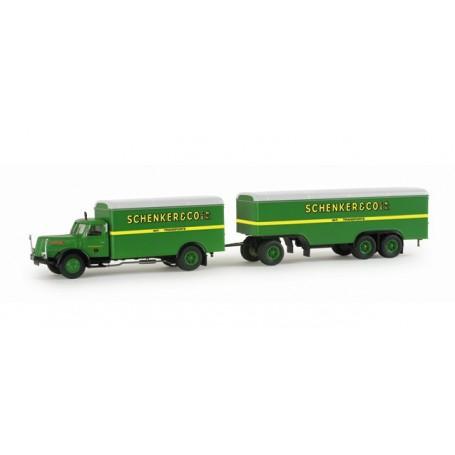 """Herpa 155663 Henschel HS 140 box trailer """"Schenker"""""""