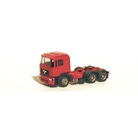 Herpa 3376B Dragbil MAN F2000, 3-axlig, hytt röd
