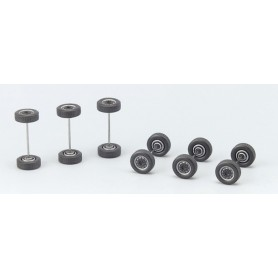 Herpa 690251 Hjulaxlar med fälg, svart/silver, 6 st