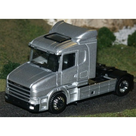 Herpa 580406 Dragbil Scania Hauber 124, 2-axlig, hytt silver, chassie svart