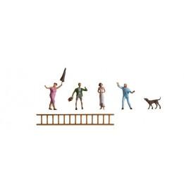Faller 151066 Genom fönstret, 4 figurer 1 hund samt stege