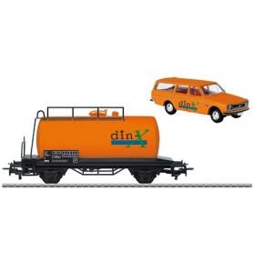 """Märklin 100129 Specialset Tankvagn """"din-X"""" med Servicebil Volvo 145"""