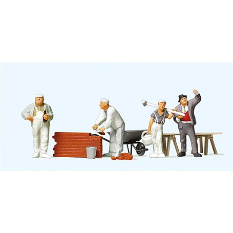 Preiser 10251 Murare, med skottkärra och tegelstenar, 3 arbetate och 1 övervakare