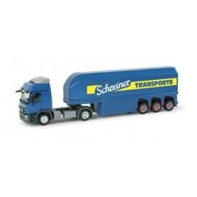 """Herpa 157179 Mercedes-Benz Actros L glass transporter semitrailer """"Schreiner"""""""