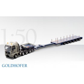 Conrad 7017801 GOLDHOFER STZ-H6 semi-trailer low-loader featuring 6-axle central steering with MAN TGX XXL MAXIMUM