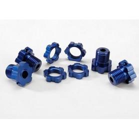 Traxxas 5353X Hjulnav 17 mm, 4 st och hjulmutter, 4 st, 17 mm, blå anodizerad aluminium