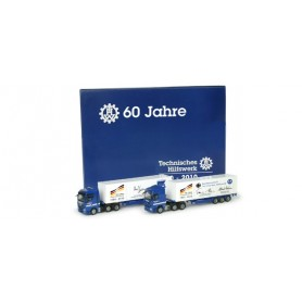 Herpa 295895 THW - german public social aid 60th anniversary set with 2 x 40 ft. container semitrailer