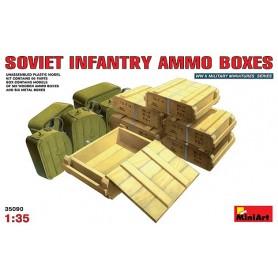 Miniart 35090 Soviet Infantry Ammo Boxes, 6 trä och 6 metallboxar
