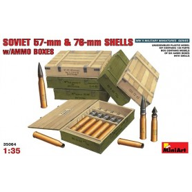 Miniart 35064 Soviet 57 mm och 76 mm Shells with Ammo Boxes, 6 ammoboxar