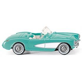 Wiking 81904 Chevrolet Corvette 1953, 2-färgad turkos/vit