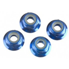 Traxxas 1747R Låsmutter M4, blå, aluminium, 4 st