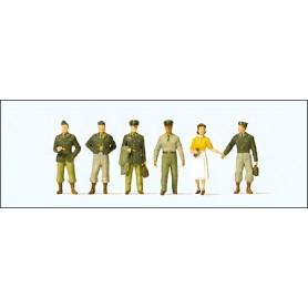 Preiser 10594 Figurer US-Soldater, 1950-tals, 6 st