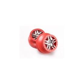 """Traxxas 6872A Fälgar SCT Split-Spoke med röd krans och kromcenter, 2.2"""" yttre, 3.0"""" inre, 1 par"""