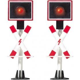 Busch 5955 Varningssignaler för järnvägsövergång med blinkande lampor