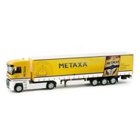 "Herpa 158138 Renault Magnum curtain canvas semitrailer ""Land / Metaxa"""