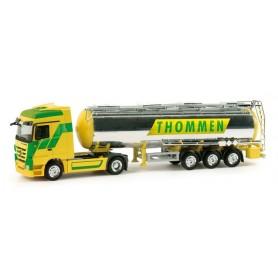 """Herpa 158121 Mercedes-Benz Actros LH chromium plated semitrailer """"Thommen"""" (CH)"""