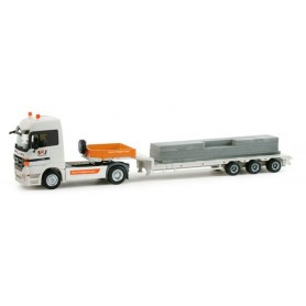 "Herpa 158091 Mercedes-Benz Actros LH low boy semitrailer with load ""BFU"""