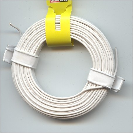 Brawa 3149 Kabel, 0,20 qmm, vit, Cu: 0,5 mm i diameter, längd 10 meter