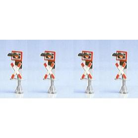 Brawa 4807 Varnings signaler för järnvägsövergång med blinkande lampor, 4 st