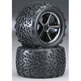Traxxas 7174A Däck och fälg, färdiglimmad, Gemini black chrome wheels, Talon tires, med foam inserts, 1 par