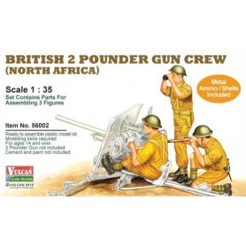 Vulcan 56002 Figurer British 2 Punder Gun Crew (North Africa""