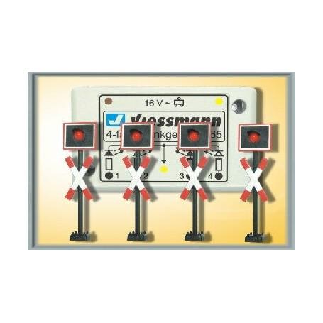 Viessmann 5835 Varningskors, 4 st med kontrollbox