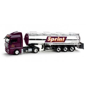 "Herpa 158640 MAN TGX XLX chromium plated foodtank container semitrailer ""Sprint"""