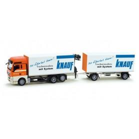 "Herpa 158701 MAN TGX XXL canvas cover trailer with cran ""Tatschl / Knauf"""