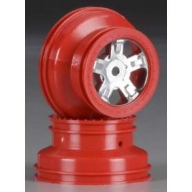 Traxxas 7072A Fälg röd/krom, SCT Satin chrome, beadlock style, dualprofile, 1 par