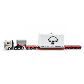 "Herpa 158855 MAN TGX XXL 680 low boy semitrailer with loading ""Rachbauer"" (A)"