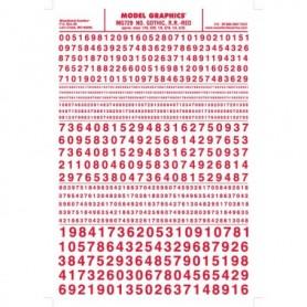 Woodland Scenics MG729 Dekalark, siffror, Gothic, röd, mått 1/16, 3/32, 1/8, 3/16, 1/4, 5/16