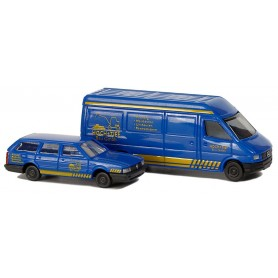"""Busch 8327 Set med 2 st bilar VW Passat Variant och Mercedes Benz Sprinter """"Hoch Tief"""""""