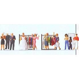 """Preiser 10586 """"Modevisning"""", 8 figurer med tillbehör"""