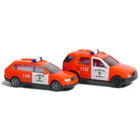 """Busch 8326 Set med 2 st bilar Audi A4 / Mercedes M-Klass """"Oberhausen Feurwehr"""""""