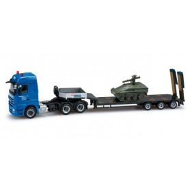 "Herpa 159289 Mercedes-Benz Actros LH 08 low boy semitrailer with load tank Wiesel ""Hegmann"""