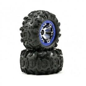 Traxxas 7274 Däck, färdiglimmade Geode chrome, blå krans med Canyon AT däck, med foam inserts, 1 par