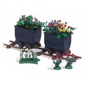 Busch 1253 Två tippvagnar dekorerade med blommor